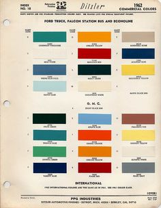1961 1962 Gmc Truck Color Chip Paint Sample Brochure Chart R M Ebay Gm Trucks 1960