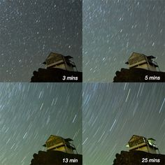 Getting started with astrophotography - photo: Comparison of exposure time for star trail photography Under The Stars, For Stars, Night Time Photography, Star Trails, Pure Happiness, Exposure Time, Milky Way, Virtual World, Creative Photography