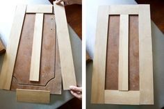 Got old cabinet doors? Reface them with trim boards and then paint everything for an inexpensive upgrade! (flip idea).