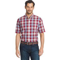 Big & Tall Arrow Plaid Button-Down Shirt, Red Other