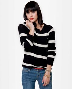 Volcom Lefty Loosey Black Striped Sweater ... i have one just like it