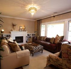 Living Room Ideas Leather mixing fabric and leather furniture - creates great texture contrast