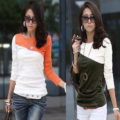 Korean Fashion Stitching Long Sleeve Crewneck Casual Basic Tops T Shirt Blouse | eBay