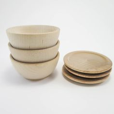 Small Wood Plate and Bowl Sets & Unfinished Wood Bowls and Plates | Popular Wooden Bowl Set with Tray ...