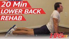 20 Min Lower Back Rehab HASfit Lower Back Stretches for Lower Back Pain Exerci Best Lower Back Exercises, Lower Back Pain Stretches, Yoga For Back Pain, Neck And Back Pain, Low Back Pain, Hip Stretches, Stretching, Sciatica Pain Relief, Sciatic Pain
