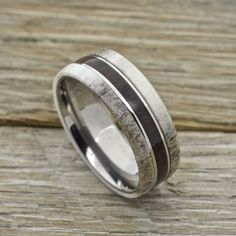 Men's Deer Antler Ring, Koa Wood Inlay Titanium Comfort Fit Wedding Band #RandallScottJewelers #Band