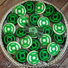 Green lantern themed sugar cookies by Crumbs Custom Cookies