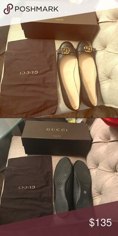 Gucci Flats Authentic size 39 9 black shoes Excellent condition .  Hardly used Gucci Shoes Flats & Loafers