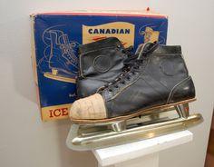 Vintage CANADIAN FLYER Mens Hockey Skates Sz by ilovevintagestuff