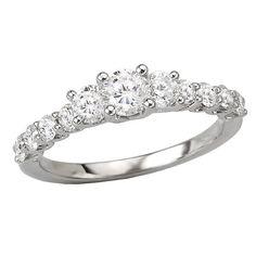 NEW 14k WHITE GOLD DIAMOND 3 STONE ROUND ENGAGEMENT BRIDAL WEDDING RING 1 ct. #ThreeStone