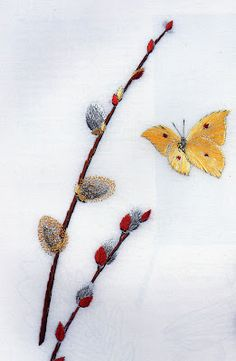 pussywillows - Helen M. Stevens Embroidery Cards, Embroidery Stitches, Hand Embroidery, Embroidery Ideas, Butterfly Project, Mosaic Projects, Clothes Crafts, Fiber Art, Hand Sewing