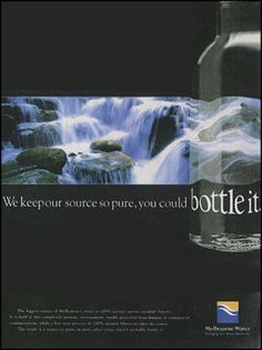 Poster Melbourne Water. International campaign to bottle water from Melburne, Victoria, Australia.