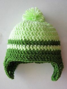 crochet st patrick's day patterns | St Patrick's Day Crochet Baby Earflap Hat Size 03 by yar... / crochet ...