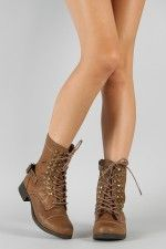 Bamboo Fighter-14 Studded Lace Up Military Mid Calf Boot