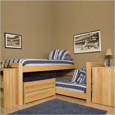University Loft Graduate Series Extra Long Junior Crew Twin L-shaped Bunk Bed…