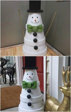 20 DIY Clay Pot Christmas Decorations That Add Charm To Your Holiday Décor - Hobbies paining body for kids and adult Diy Christmas Lights, Christmas Clay, Christmas Crafts For Kids, Homemade Christmas, Holiday Crafts, Christmas Holidays, Christmas Decorations, Christmas Ornaments, Christmas Vacation