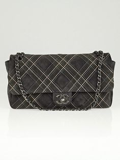 Chanel Grey Suede Stitch Quilted Saltire Flap Bag
