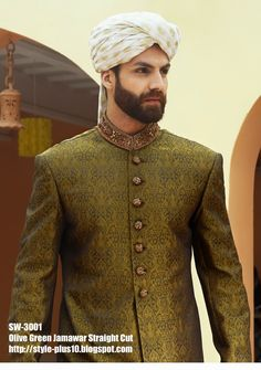 Olive Green Jamawar Straight Cut Sherwani by Amir Adnan
