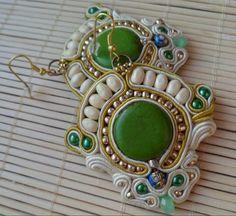 Handmade, soutache earrings. Cream, green, gold, yellow, blue.
