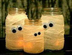 Halloween - cheap diy decor with jars, gauze & googly eyes