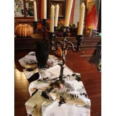 A Ghastly Night Halloween Party Table Runner White