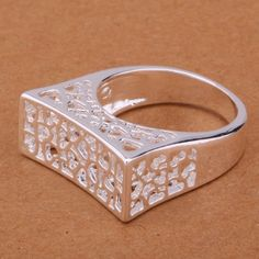 Uk 925 Silver Plt Chunky Square Edge Filigree Heart Band Ring Statement Ladies