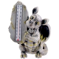 Drachen Gartenfigur Thermometer FIGUR Drachenbaby 26cm DRACHE Dekoration DEKO