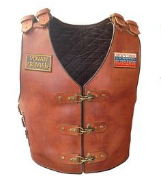 "Items similar to A high-protected biker armour ""Knight Rider"" on Etsy Leather Biker Vest, Leather Suspenders, Motorcycle Leather, Leather Tooling, Motorcycle Jackets, The Human Body, Leather Apron, Sewing Leather, Leather Crafting"