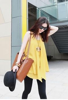 Personality Sexy Chiffon Long Blouse Yellow - $29.14