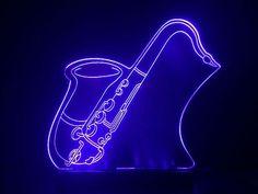 Abajur Enfeite Em Acrílico C/ Led-saxofone - Guitarra - Neon