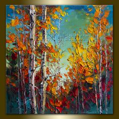 Autumn Birch Original Landscape Painting Oil on Canvas Textured Palette Knife Contemporary Modern Tree Art Seasons 20X20 by Willson. $215.00, via Etsy.