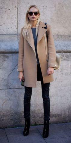 Camel coat + Black. Paris Fashion Week.