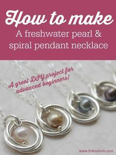 Learn how to make your very own pearl and spiral pendant necklace with this diy jewelry tutorial. These necklaces are very delicate and feminine and make for the perfect wedding jewelry or gift idea. It is a great jewelry tutorial for advanced beginners!
