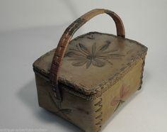 Large Vintage Canadian CREE ATHABASCAN Birch Bark Basket Very Nice | eBay