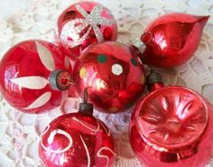 vintage red ornaments