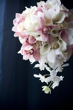 Rachel & Russell -Wedding Florals: Cascading Bouquet Mauve