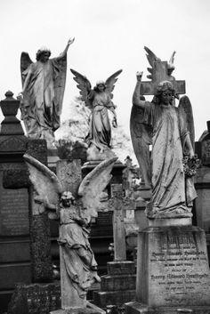 Ángeles en piedra en el cementerio de Nottingham, victoriano con cuevas, y muchos niveles.