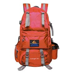 PioneerHiker 50L Waterresistant Hiking Backpack Daypack for Camping Travel Orange ** Click image for more details. Note:It is Affiliate Link to Amazon.