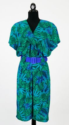 Vintage 1980s Green and Blue Wrap Dress w/ Belt by CeeLostInTime