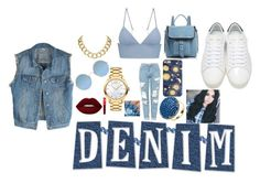 """""""jean jackets"""" by jaz-minrojis ❤ liked on Polyvore featuring Topshop, Yves Saint Laurent, T By Alexander Wang, House of Harlow 1960, Movado, Botkier, Sunday Somewhere, Lime Crime, Latelita and men's fashion"""