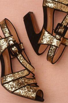 glitter gold + ajuste negro de BHLDN