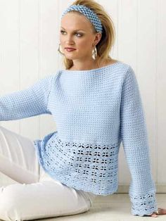 """Cloud-soft, light cotton yarn makes this pretty sky blue top a perfect addition to a fresh spring wardrobe.Size: 32""""-34"""" bust (small); changes for 36""""-38"""" bust (medium), 40""""-42"""" bust (large) and 44""""-46"""" bust (X-large) are in [ ].Skill Level: Intermediate"""
