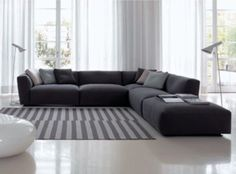 Desired LAYOUT in living - large modern corner group placed on oversized PLAIN rug with feature floor lights.