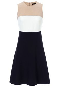 Apricot White Navy Sleeveless Zipper Chiffon Dress - Sheinside.com