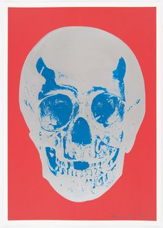 Coral Red Silver Gloss True Blue Skull - Damien Hirst