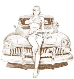 """Hot rod pinup"" by Mad Mac pinupart.it #drawing #sketch #pinup #girl #illustration #vintage #hotrod"