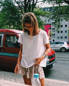 summer | tee | shirt | white | floral | skirt | Fashion