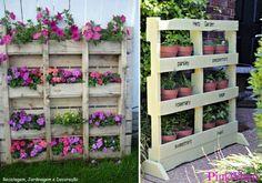 Faça o seu pequeno jardim ou pequena horta, reutilizando paletes.  Saiba como fazer mais coisas em http://www.comofazer.org