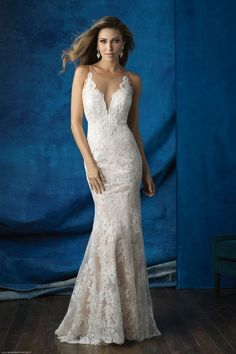Wedding Dresses | Allure 9363 | Allure Bridals at Gateway Bridal & Prom | SLC Utah Bridal Shop | Worldwide Shipping | Sheer illusion netting creates an ethereal silhouette at the neckline and back of this lace sheath.   FABRIC:Lace and Satin  COLORS:White, Ivory, Antique/Ivory  SIZES:2-32