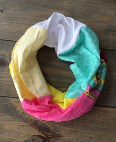 Colorful Spring Infinity Scarf with Aztec Accent by KutKloth